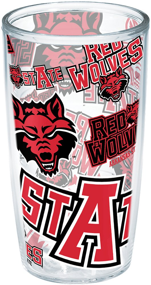 Tervis 1257226 Arkansas State Red Wolves All Over Insulated Tumbler with Wrap 16oz Clear