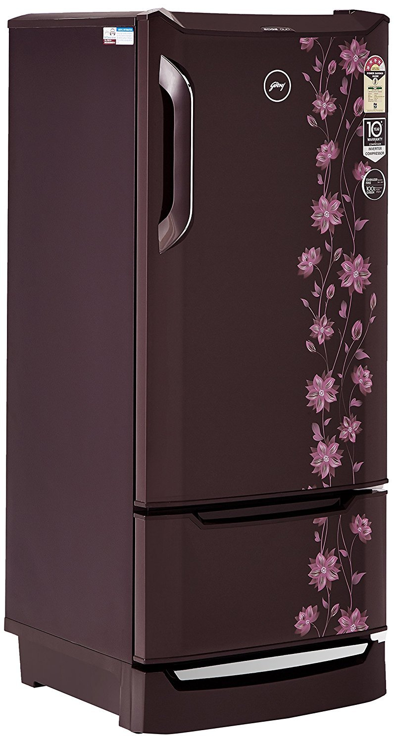 Godrej 225 L 4 Star Direct Cool Single Door Refrigerator(RD EDGE DUO 225 PD  INV4 2 ERICA Wine, Erica Wine, Base Stand with Drawer, Inverter