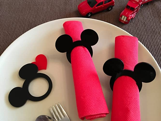 Mickey Mouse Ears Napkin Rings Kids Cloth Napkins Theme Minnie Black Gold Birthday Decor Wedding Favors Disney Decorations Event Party Supplies