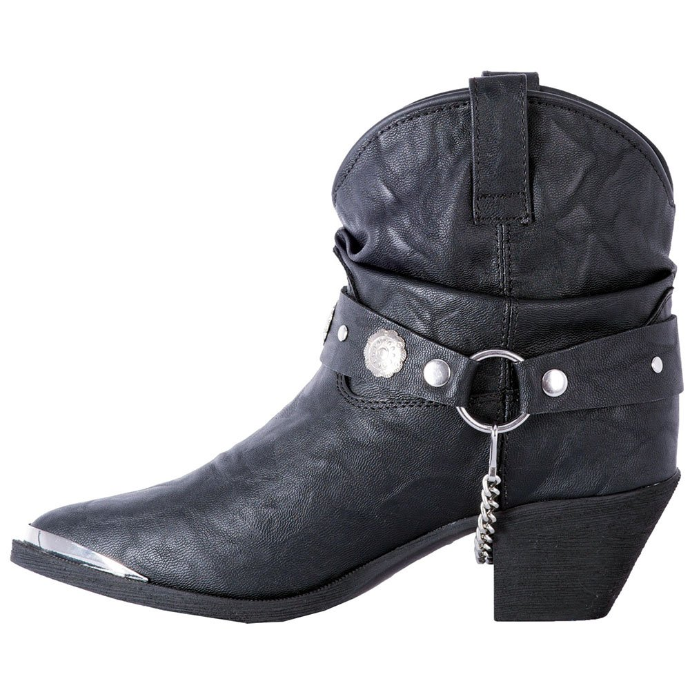 Dingo Women's Leather Concho Strap Slouch Ankle Boot Pointed Toe - Di8940 B078H9171T 8.5 B(M) US|Black