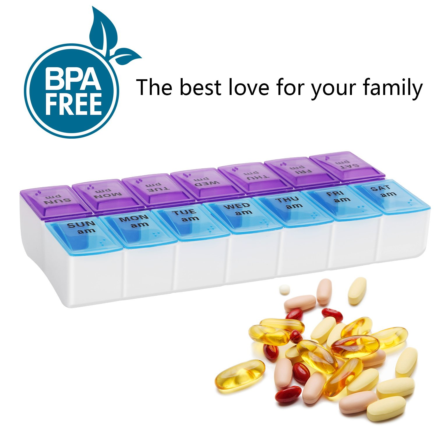 Weekly Pill Organizer box 7 day twice a day AM PM for pills and vitamin 14 Compartment medicine pill container case