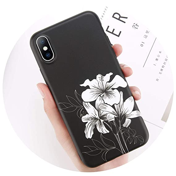 64290f0a5aae Image Unavailable. Image not available for. Color  Matte Soft TPU Case for iPhone  7 8 Plus Flower Leaves Pattern Phone ...