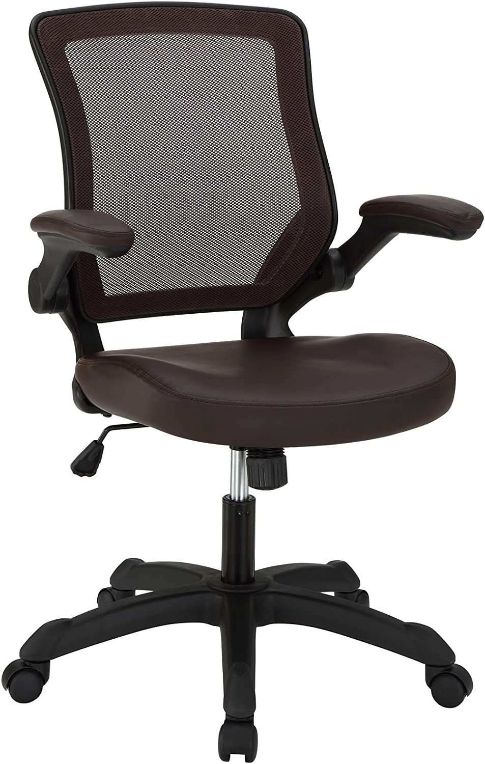 Modway Veer Office Chair with Mesh Back and Vinyl Seat, Brown