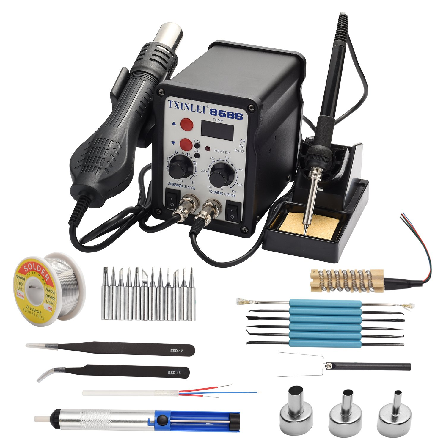 TXINLEI 8586 110V Solder Station, 2 in 1 Digital Display SMD Hot Air Rework Station and Soldering Iron, 12pcs Different Soldering Tips,Solder Wire,Tweezers ...