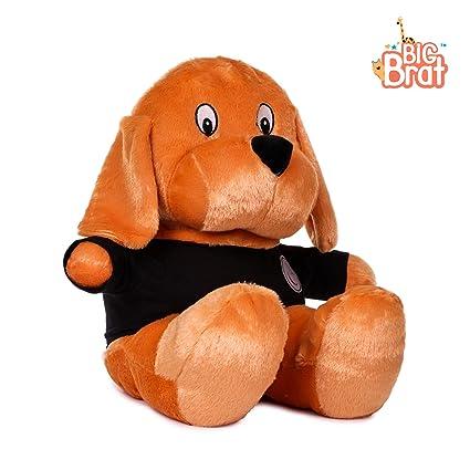 BigBrat Non-Toxic Soft Fabric Cute Stuffed Big Face Dog Toy Gift for Kids (24 inch) (Brown & Black)