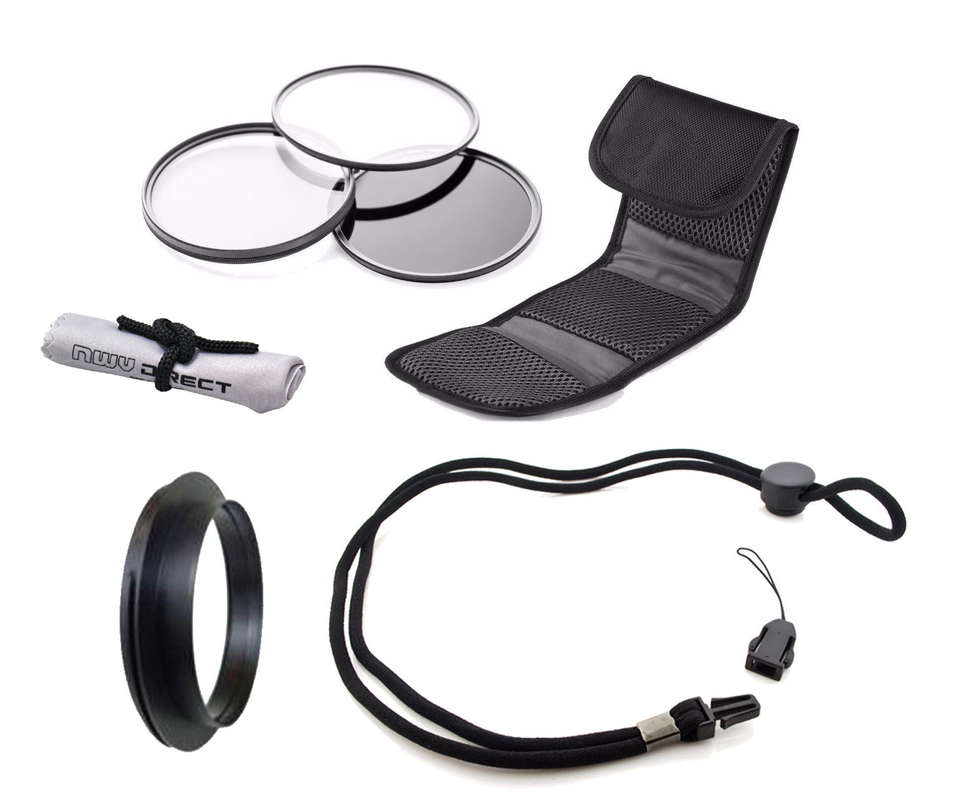 Olympus Stylus Tough TG-3 High Grade Multi-Coated, Multi-Threaded, 3 Piece Lens Filter Kit (40.5mm) + Lens/Filter Ring + Krusell Multidapt Neck Strap + Nw Direct Microfiber Cleaning Cloth
