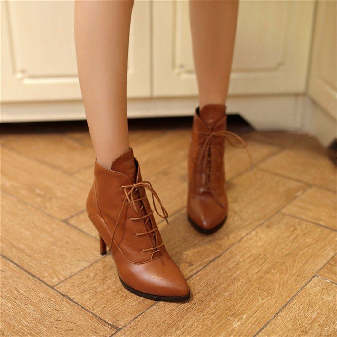 Europe and America heel high-heeled schuhe, tie short Stiefel, Stiefel female pointed big Größe Martin Stiefel Stiefel, 6df4d7