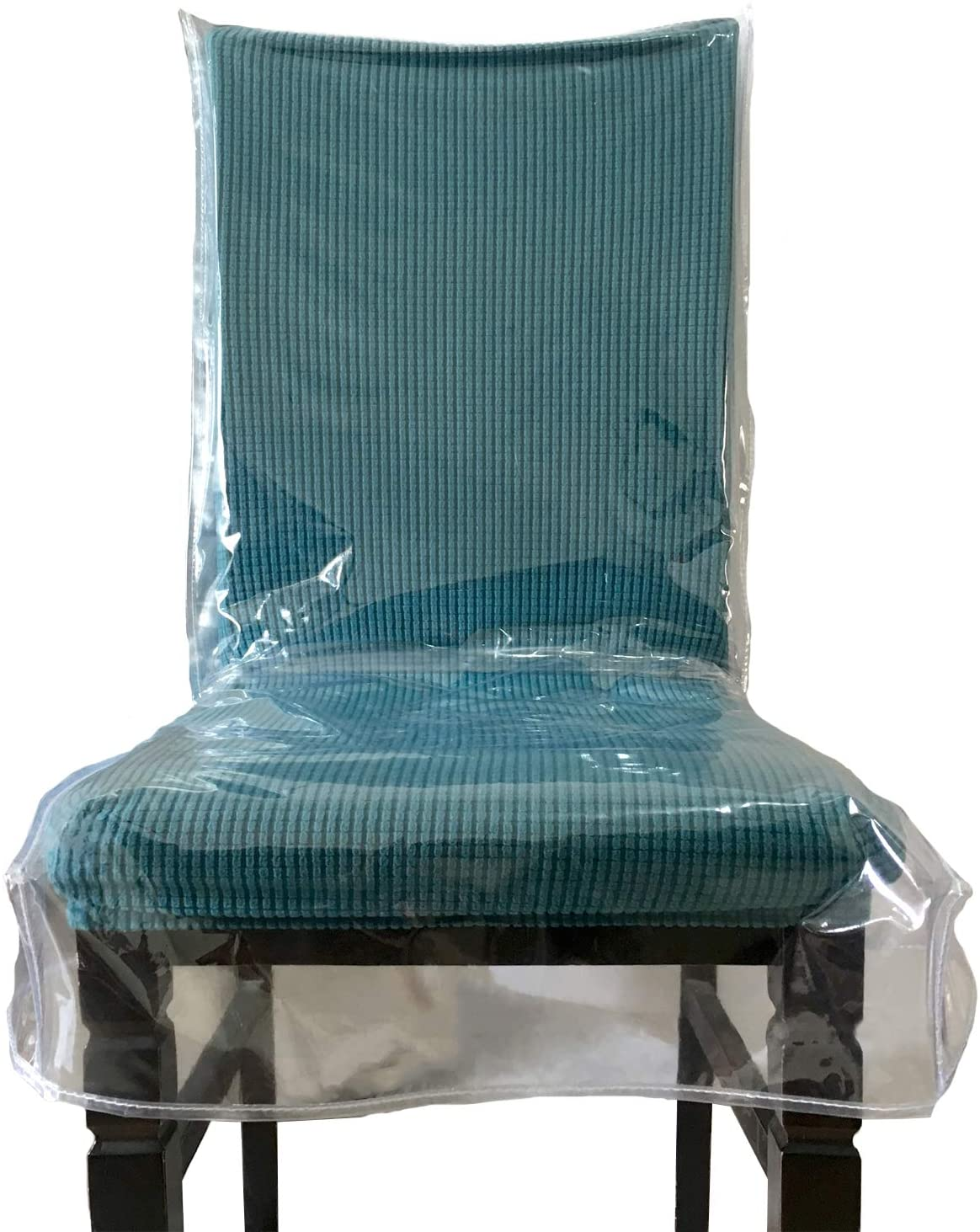 4 Pack Swanna Plastic Dining Chair Covers with Backrests,Clear PVC Seat Chair Protector Waterproof Cover,Fit W//23 x D//20 Inch