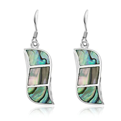 Ornami Sterling Silver and Abalone Leaf Stud Earrings uAnMont