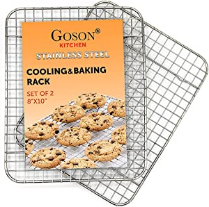 Goson Kitchen Stainless Steel Heavy Duty Metal Wire Cooling, Cooking, Baking Rack For Baking Sheet, Oven Safe up to 575F, Dishwasher Safe Rust Free | 8