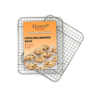 Goson Bakeware Baking, Cooling, Oven Roasting, Broiler Rack, 8in by 10in, Cross Wire, Chrome, Pack of 2, Compatible with Various Baking Sheets Oven Pans