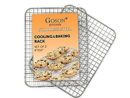 Goson - Rejilla de alambre cruzado cromado para hornear, enfriar, asar al horno,
