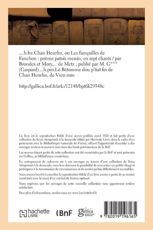 Chan Heurlin Ou Les Fiançailles De Fanchon Poème Patois