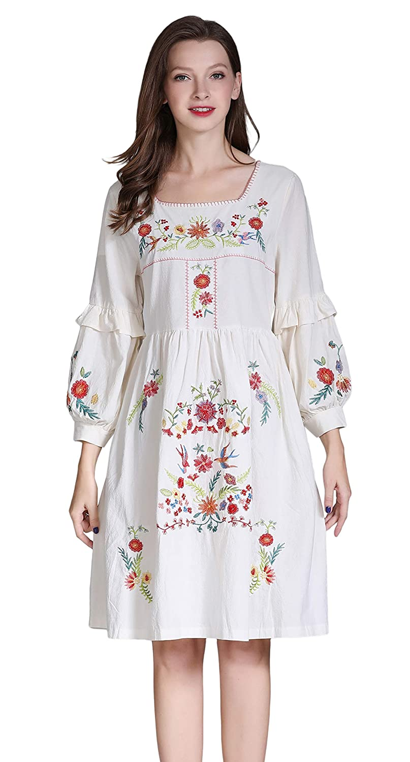 Old Fashioned Dresses | Old Dress Styles Shineflow Womens Casual 3/4 Sleeve Floral Embroidered Mexican Peasant Dressy Tops Blouses Shirt Dress Tunic $27.99 AT vintagedancer.com