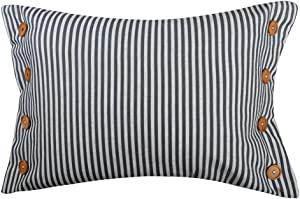 King Rose 6 Buttons Linen Blend Decorative Throw Pillow Cases Home Decorative Cushions Covers for Sofa Couch Bed 16 x 24 Inches Navy Blue