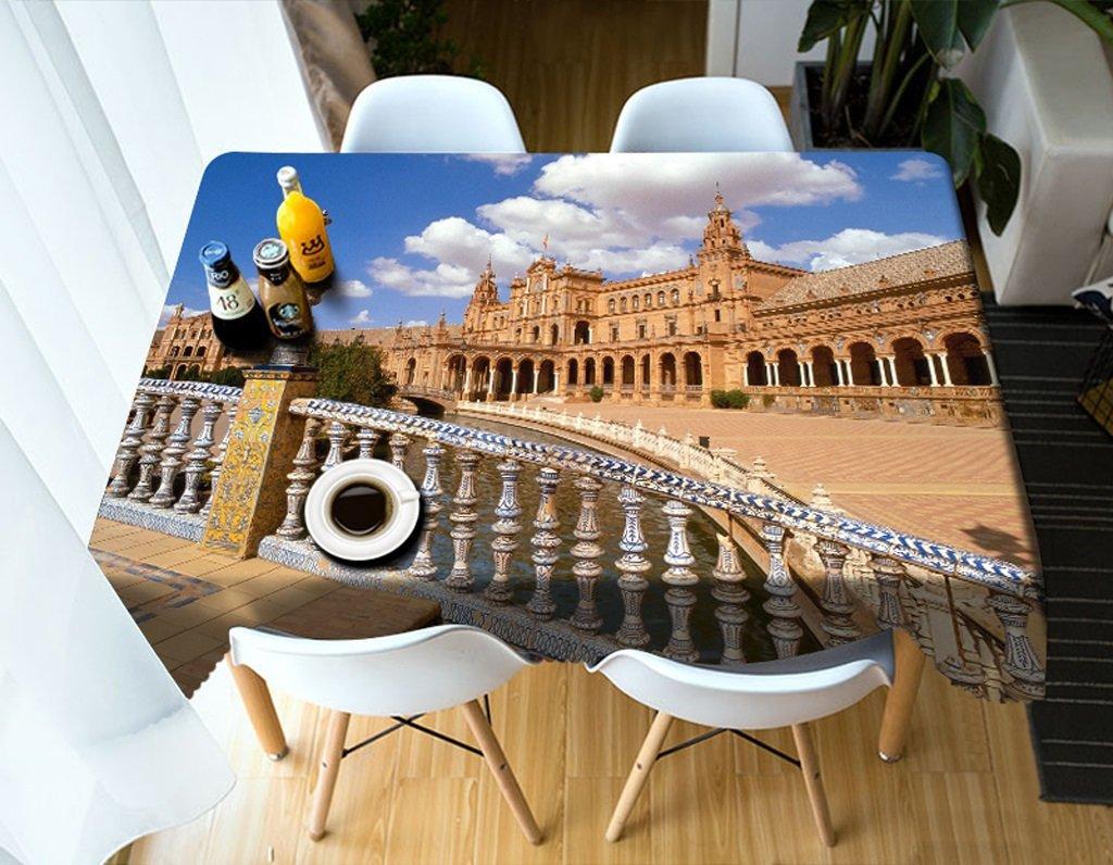 Qiao jin Manteles Manteles rectangulares - 3D Landscape Series Tablecloth MT13 - Respetuoso con el Medio Ambiente y sin Sabor - Impreso digitalmente a Prueba de Agua (Tamaño : Rectangular 80cm150cm)