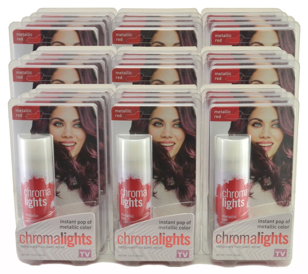 ChromaLights Instant Pop of Color Temporary Hair Color Spray 1.5 oz (36 Cans) Metallic Red by ChromaLights