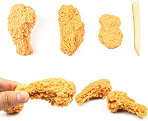 LiLiy Simulation Fried Chicken Legs Nuggets Figurine 4Pcs,Tricky Food Model Decoration Photo Props Gifts