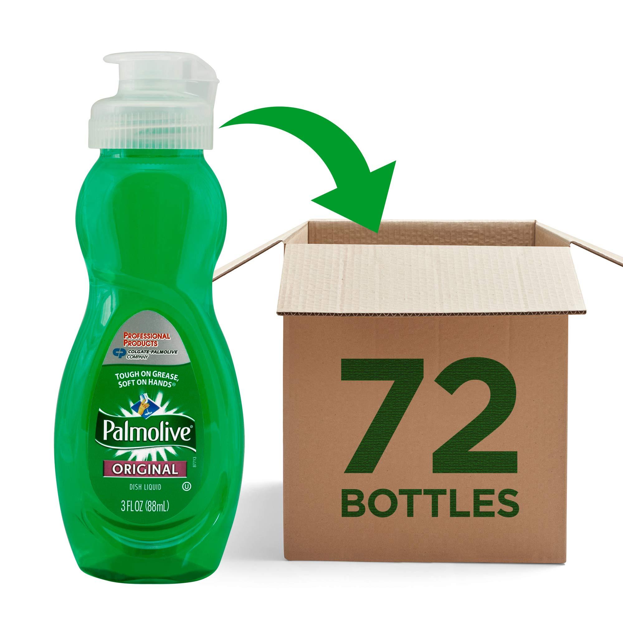 PALMOLIVE Dishwashing Liquid, Dish Soap, Dish Liquid Soap, Phosphate Free, pH Balanced, Dishwasher Cleaner, 3 Ounce Bottle (Case of 72) (201417) by Palmolive