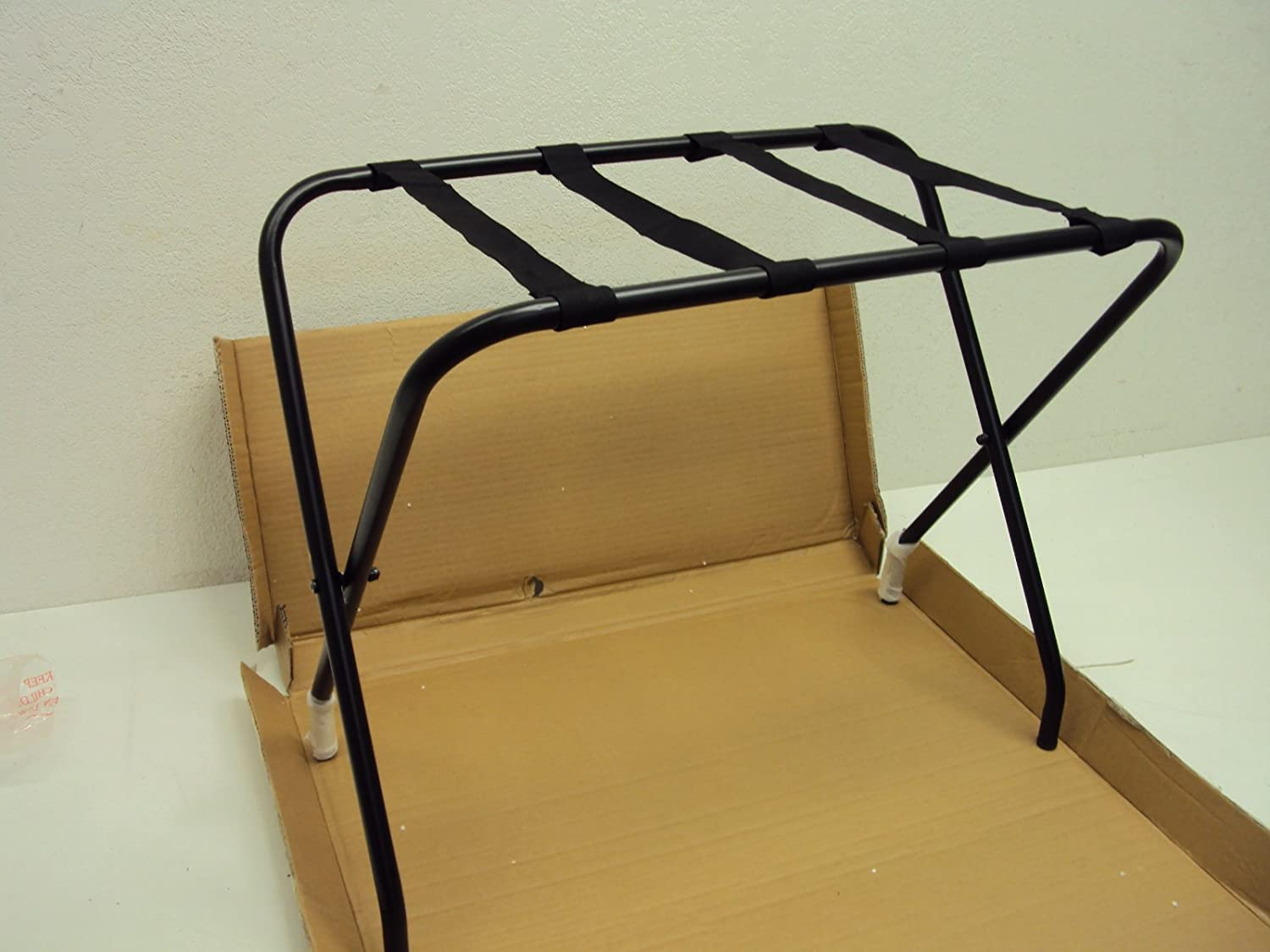 King's Brand Black Metal Folding Luggage Rack With Nylon Belt King' s Brand LRK159