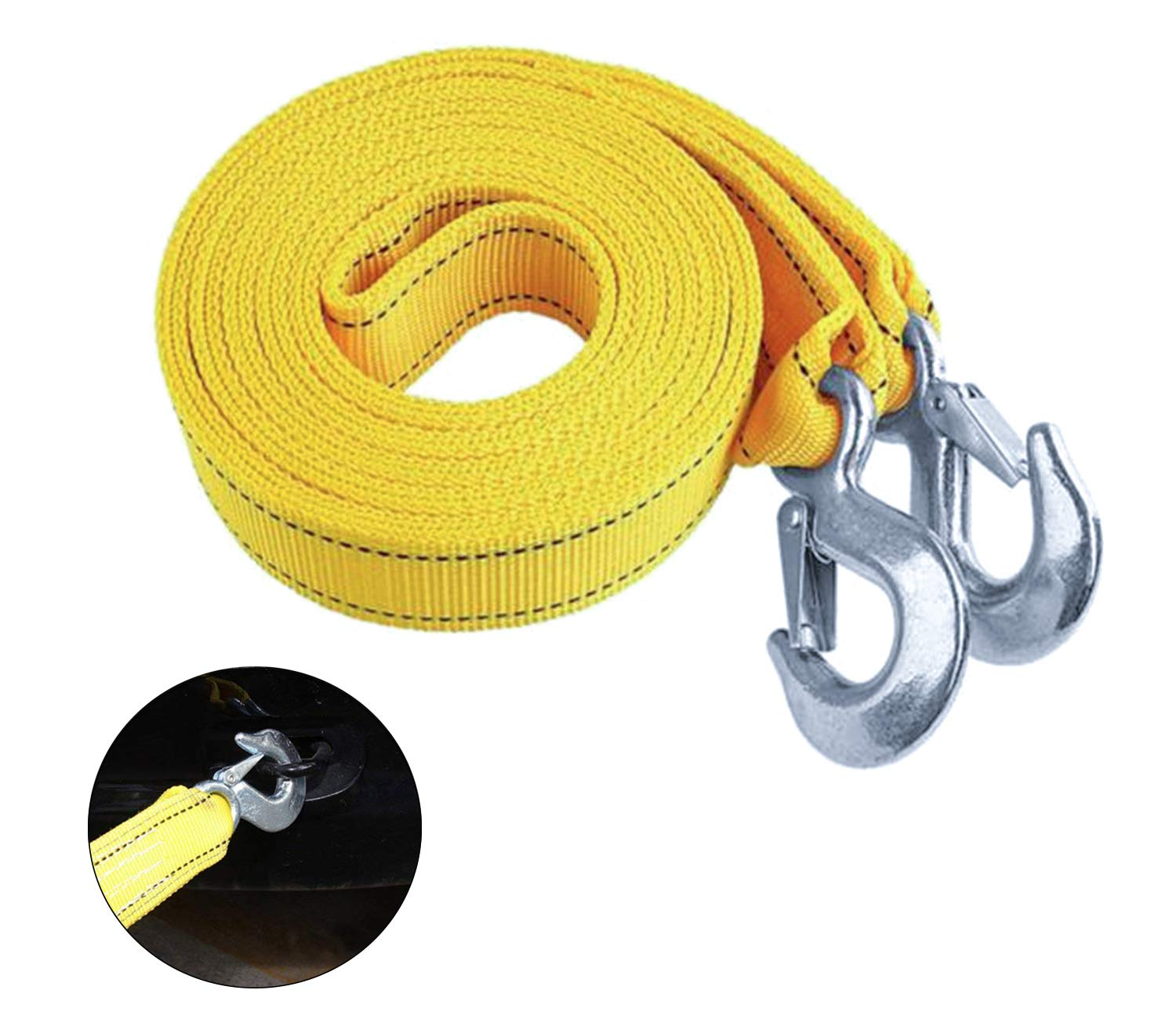 Heavy Duty Tow Strap with Hooks Nylon 1.65' X 13', 5 Ton Polyester 11, 000lb Towing Recovery Tow Rope Poweka
