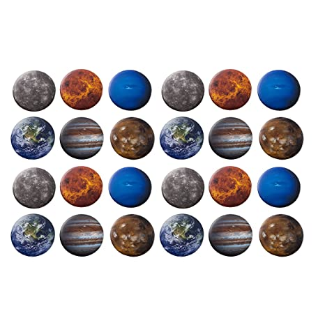 Pinback Buttons   24 Pack Planets Round Button Pins In 6 Planetary Universe Designs, Mercury, Earth, Mars, Jupiter, Neptune, Venus, 2.25 Inches Diameter by Blue Panda