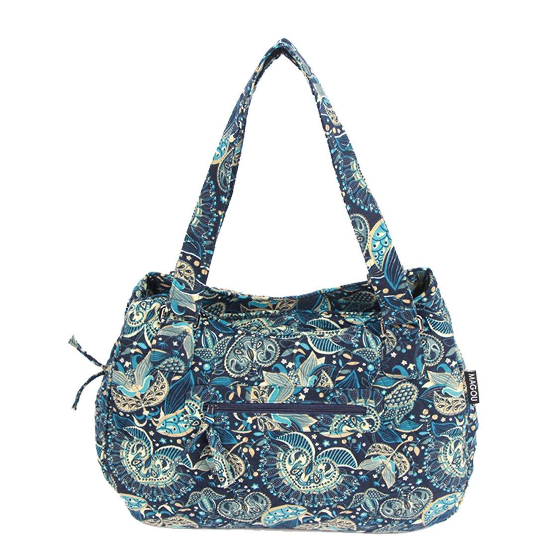 MAGOU Quilted Cotton Handle Bags Shoulder Bag (Peacock Blue)