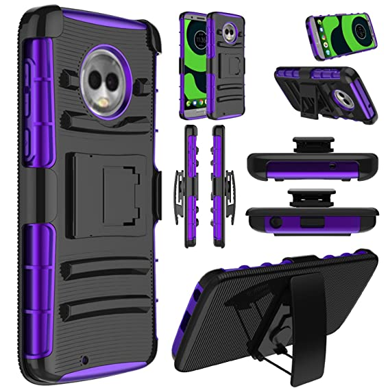 Moto G6 Case, Moto G 6th Generation Case, Elegant Choise Hybrid Heavy Duty Shockproof Rugged Holster Protective Case with Kickstand and Swivel Belt ...
