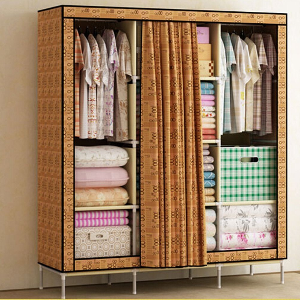 Generic New Reinforced Bold Portable Clothes Wardrobe Closet Waterproof Canvas Armoires + 1 Free Storage box