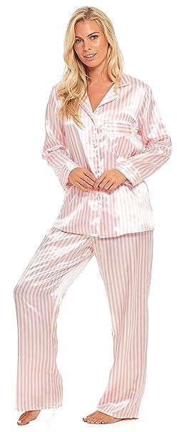 3c19d6c9474 Slumber Hut® Satin Pyjamas Candy Stripe Long Sleeved Full Length Ladies  Pink White Silk-Feel Summer Nightwear Size UK 8 to 22  Amazon.co.uk   Clothing