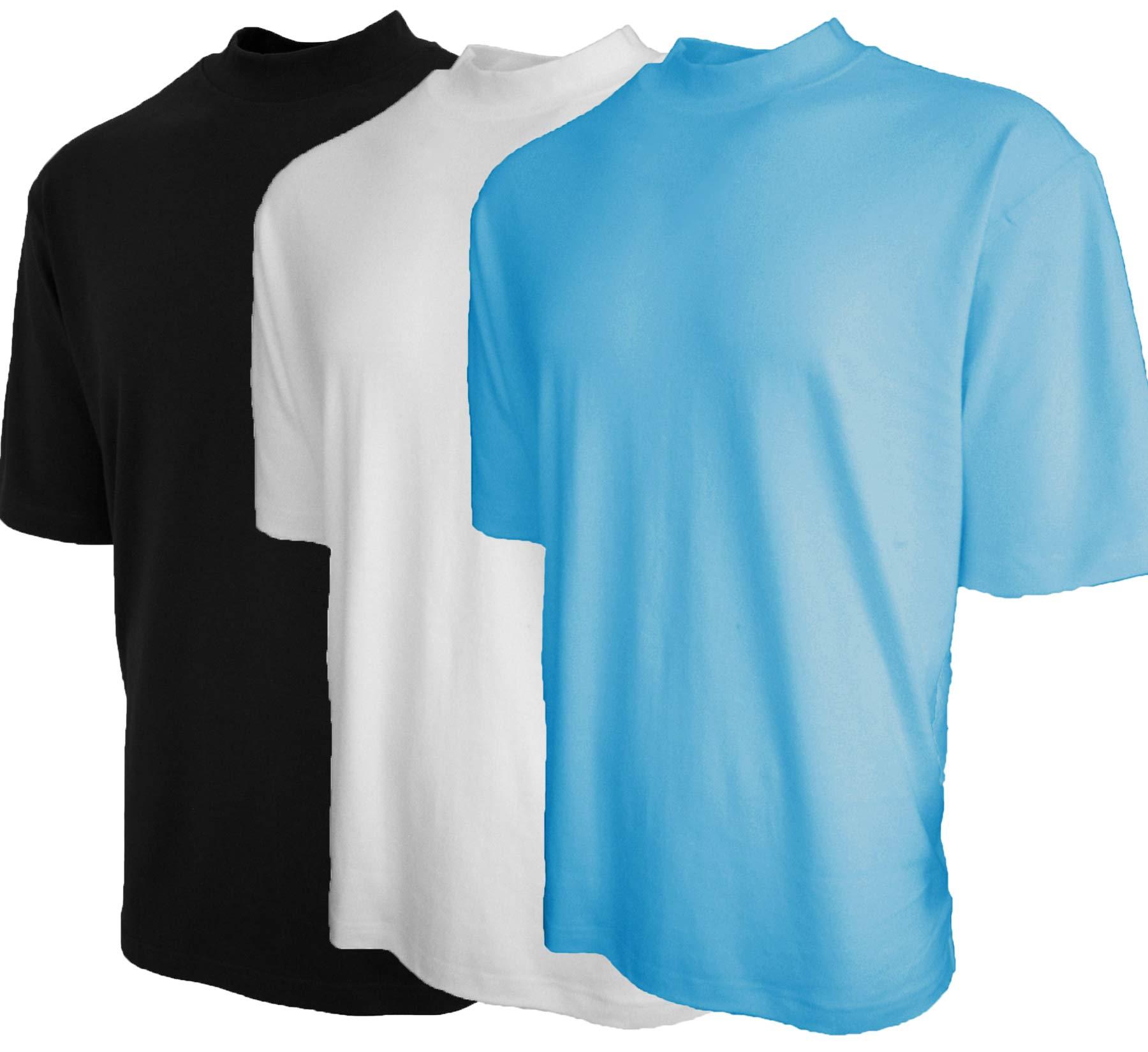 Good Life Mock Turtleneck Shirt 100% Cotton Short Sleeve Pre-Shrunk 3-Pack (XL, Black/White/SkyBlue 3-Pack)