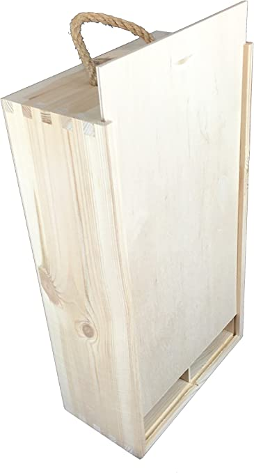 Caja madera con asa para 2 botellas: Amazon.es: Hogar