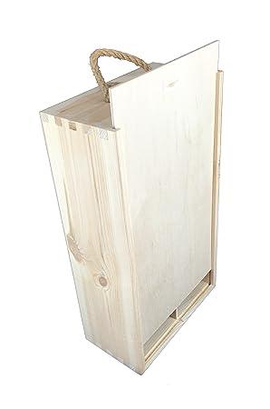 caja vino doble botella asa de cuerda madera decoupage woodeeworld