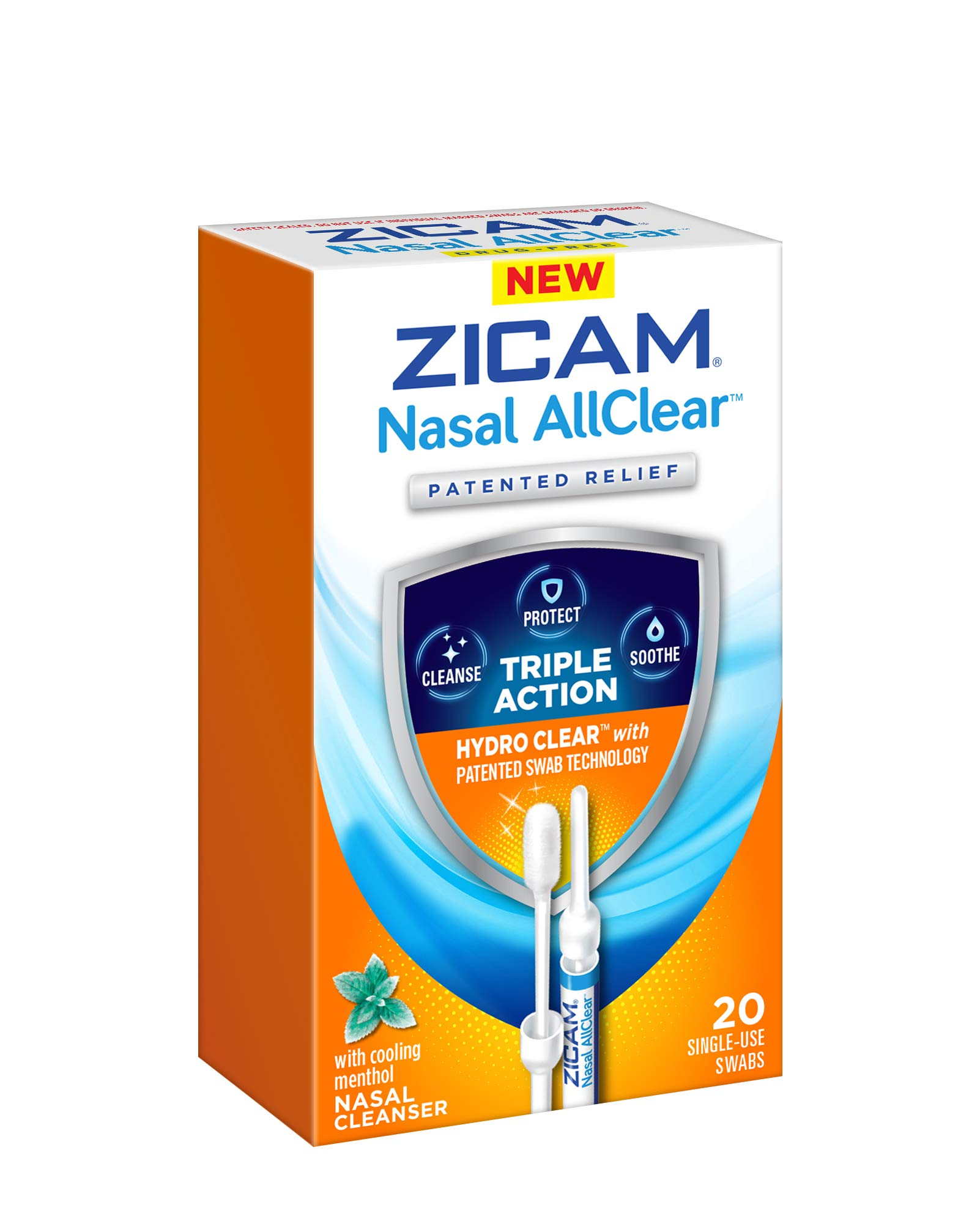 ZICAM Nasal AllClear Triple Action Nasal Cleanser with Cooling Menthol, 20 Count by Zicam