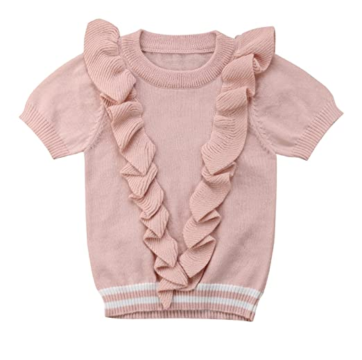 6fcf3a24e94f Urkutoba Baby Girls Knitted Ruffle Short Sleeve Jumpsuit Baby Kids Girl  Romper Autumn Casual Clothing (