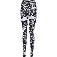Ny plusstorlek damer skalle blommigt tryck dam lång svart blommönster stretch byxor leggings