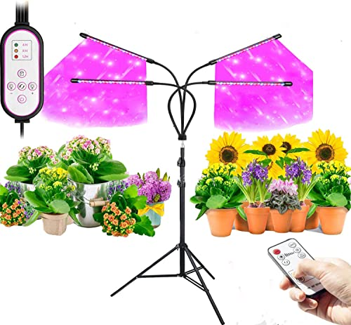 Grow Lights for Indoor Plants Upgraded Four Head 80 Led Lamps with Adjustable Tripod Red Blue Full Spectrum Plant Growing Light with 4 8 12H Timer 9 Dimmable Succulent Light