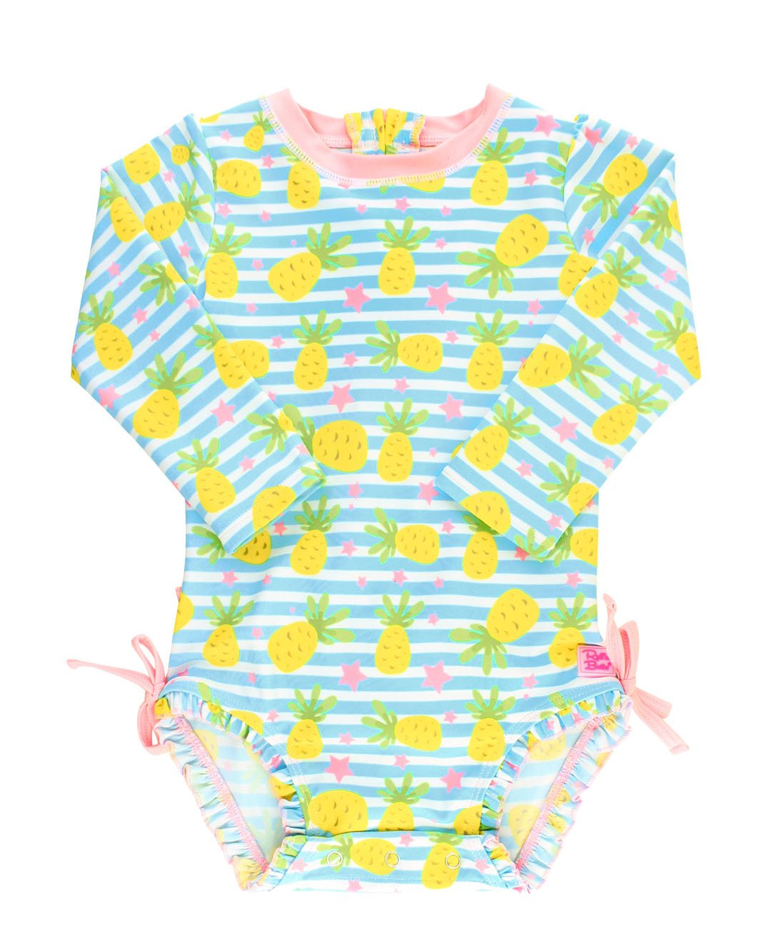 RuffleButts Little Girls Long Sleeve One Piece Swimsuit - Pineapple Paradise with UPF 50+ Sun Protection - 2T