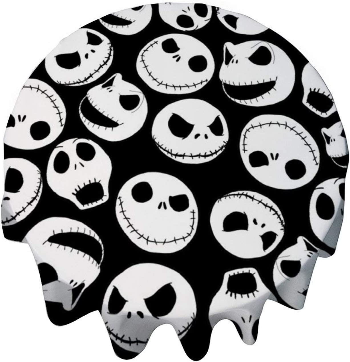 yyone Tablecloth Round 50 Inch Table Cover Jack Skellington Pattern Table Cloth Decor for Buffet Table, Parties, Holiday Dinner, Wedding & More