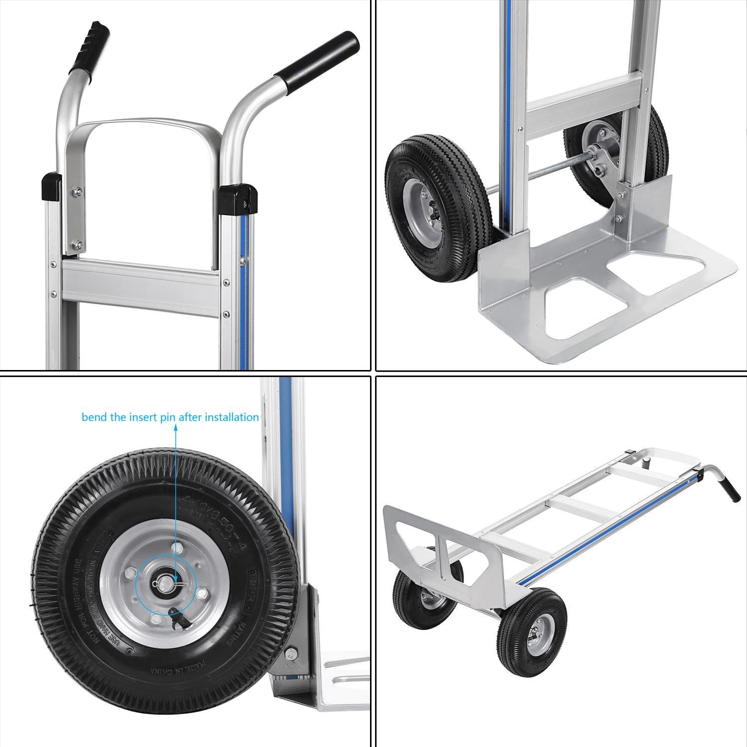 Ferty Aluminum Hand Trucks 500LBS With 2 Pneumatic Tires Dolly, Double Pistol Grip Handle Heavy Duty Trolley/Cart With 2 Wrench by Ferty (Image #7)