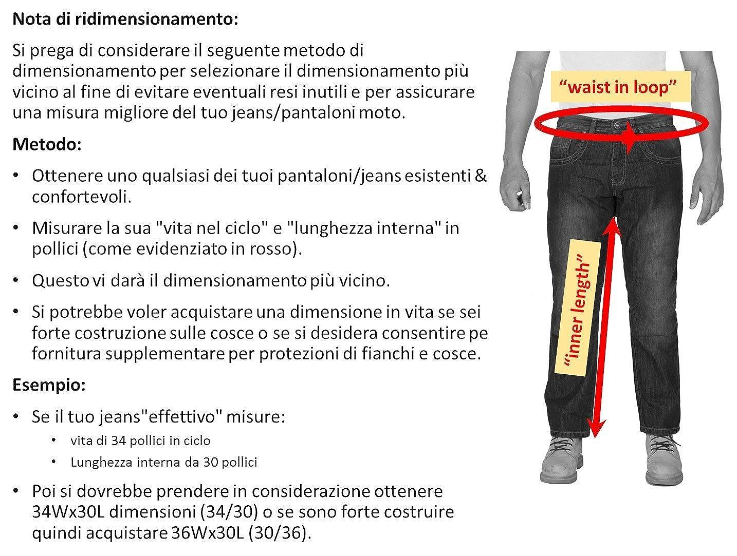 Protettori Gratis 320 GSM DuPontTM KEVLAR /® Aramid fodera HB Pantaloni Moto Kevlar Jeans 100/% qualit/à.
