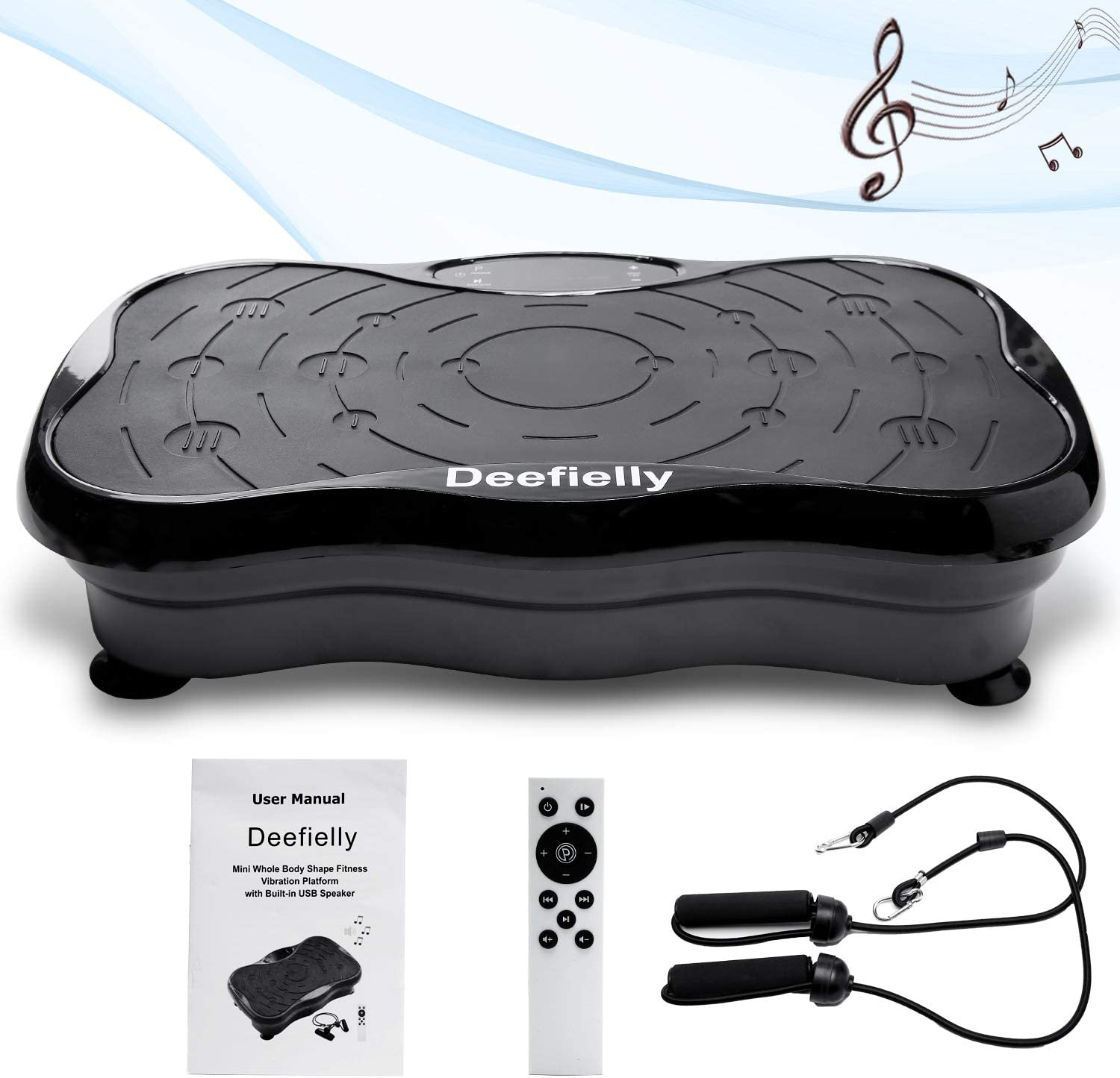 Deefielly Mini Vibration Plate Exercise Machine Whole Body Workout Fitness Vibration Platform Machine Home Training Equipment for Adult Weight Loss with Bluetooth Speaker