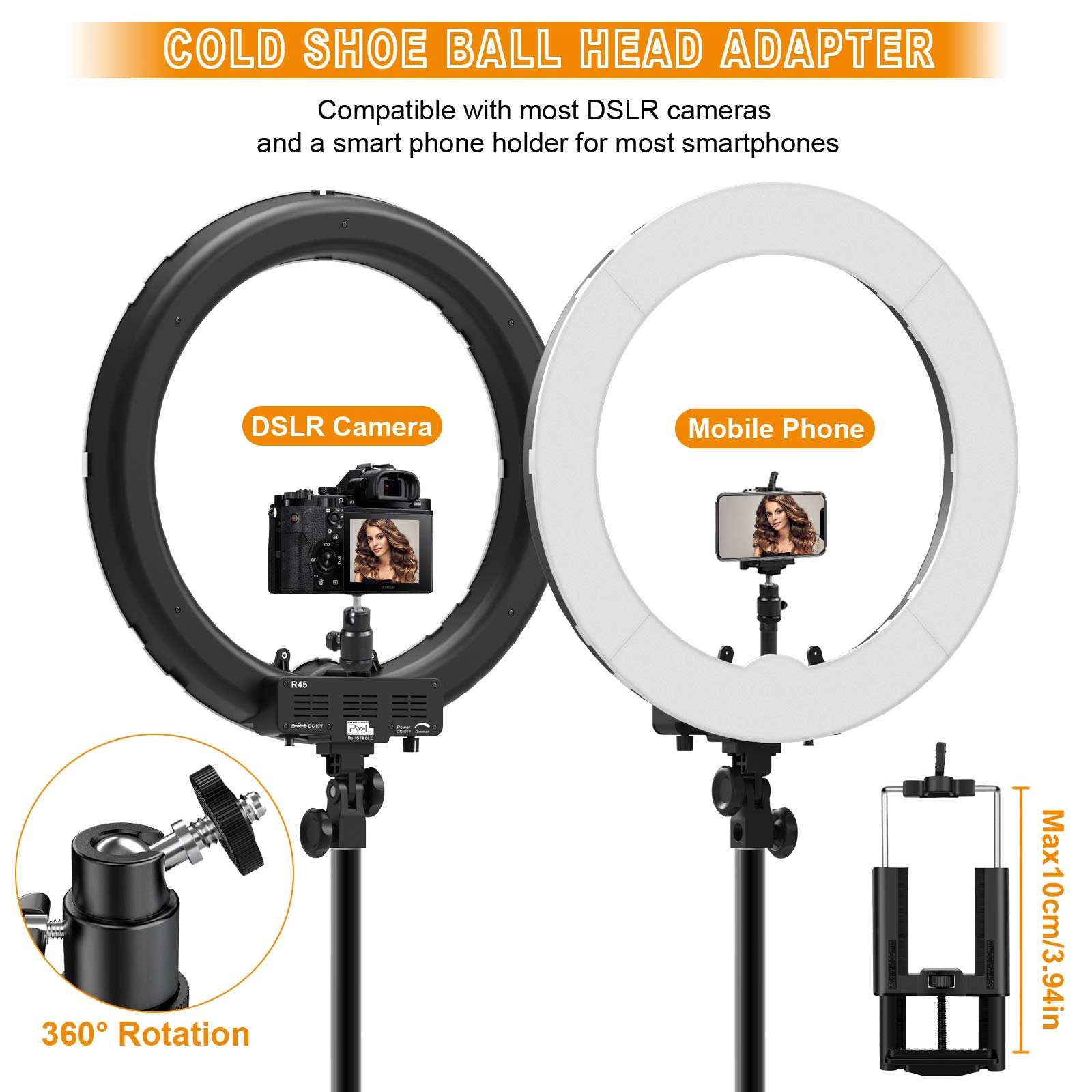Ring Light Kit:18'' 48cm Outer 55W 5500K Dimmable LED Ring Light, Light Stand, Carrying Bag for Camera,Smartphone,YouTube,Self-Portrait Shooting by IVISII (Image #2)