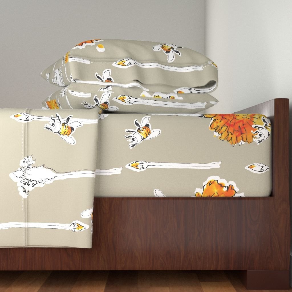 Roostery Fabric8 Semifinalist 4pc Sheet Set India Ink Bees by Anntuck Queen Sheet Set made with