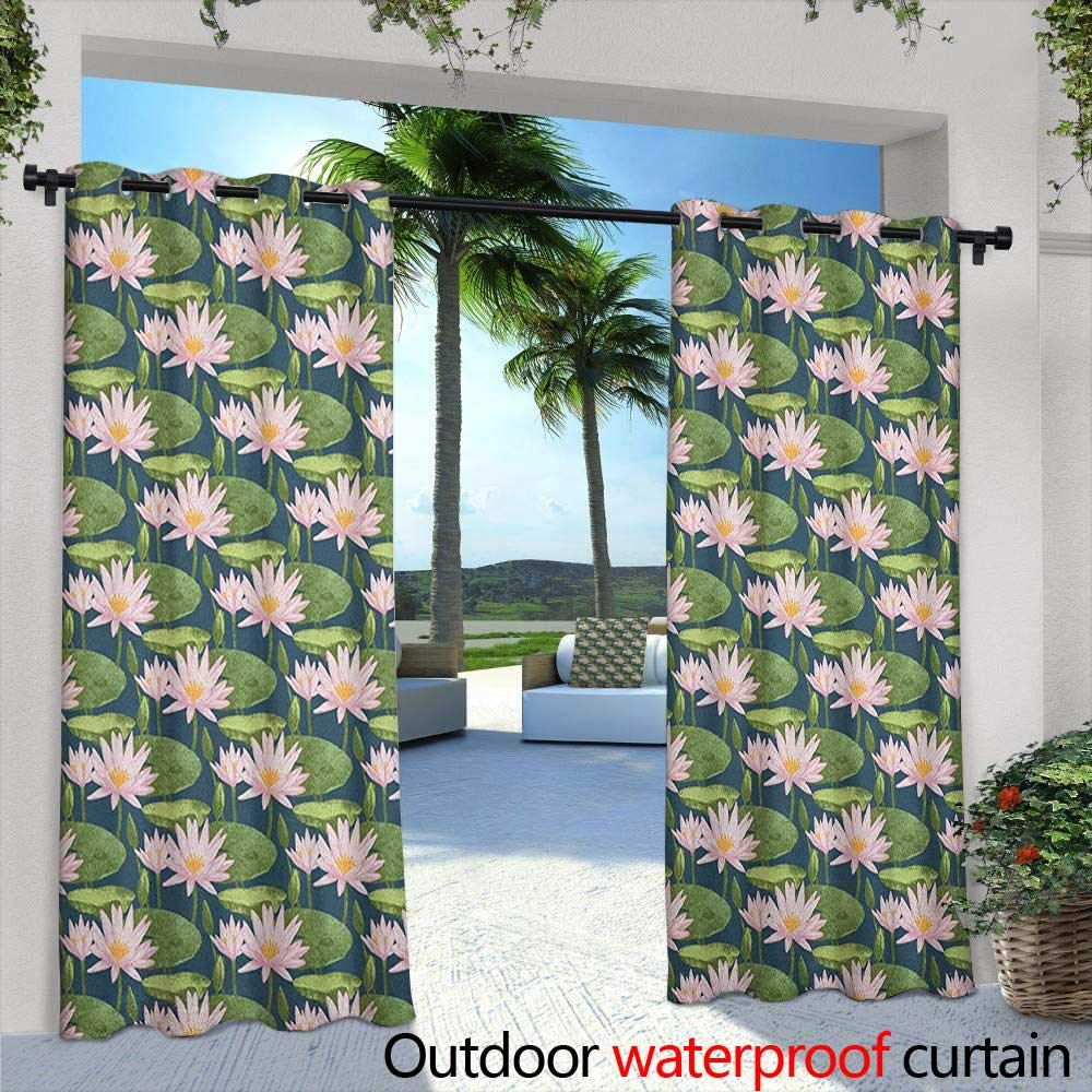 Lily Flower Outdoor Curtains Hand Drawn Style Pink Blossoms on a Pond Aquatic Flora Feng Shui Zen Garden Embossed Thermal Weaved Blackout 108'' W x 96'' L Multicolor