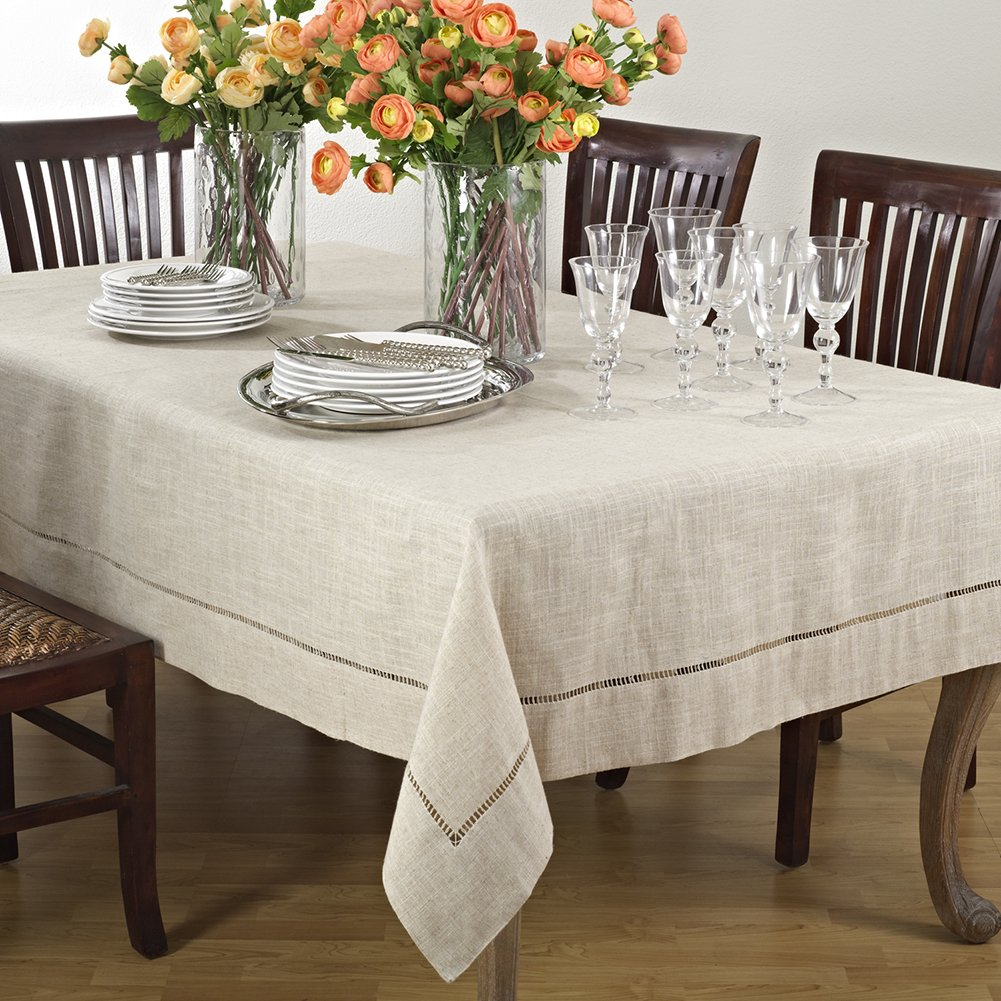 Natural Beige, Classic Tuscany Hemtitch Design Rectangular Tablecloth, 65 Inch x 160 Inch