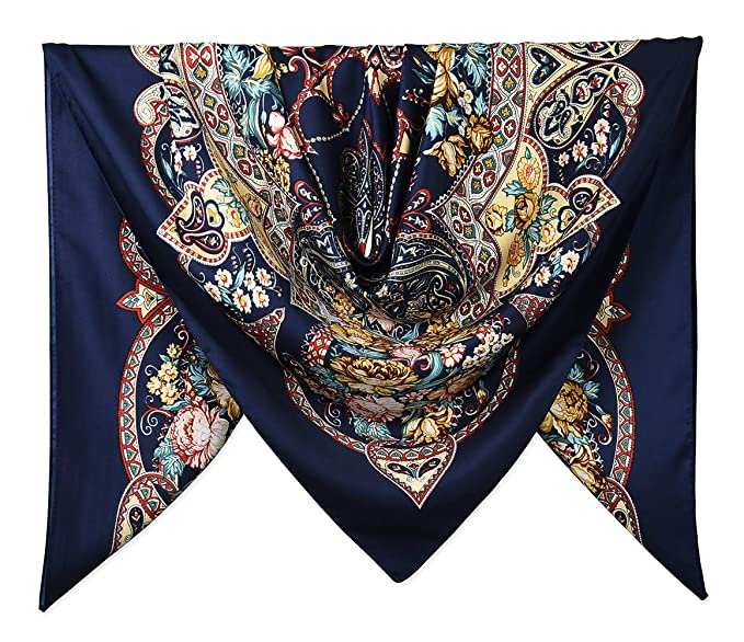 """0c27d77b4 Image Unavailable. Image not available for. Color: 40"""" Women Twill  Satin Polyester Silk Feeling Square Hair Wrapping Square Scarfs"""