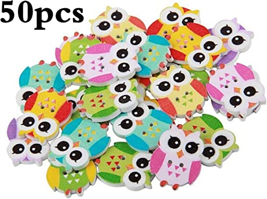 100pcs Mixed Cartoon Owl 2-Hole Wood Buttons Sewing Buttons for Scrapbooking
