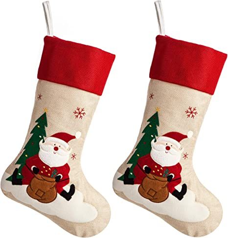 Ipegtop 18 Burlap Christmas Stocking Large Craft Socks Traditional Santa Stockings Snowflake Decorations Xmas Tree Rustic Ornaments Red Cuff 2 Pack Home Kitchen