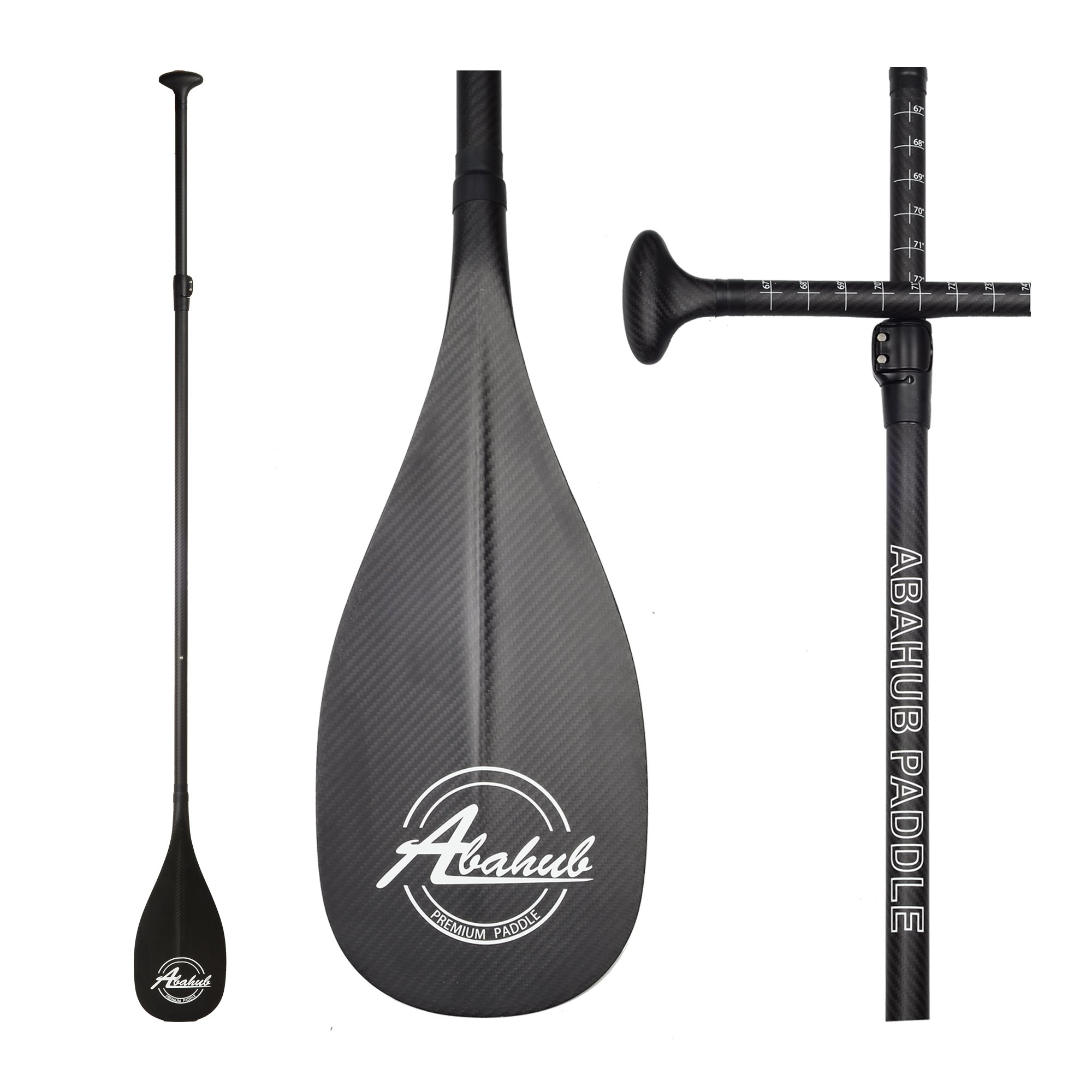 ABAHUB Premium Carbon Fiber SUP Paddle 3-Piece Adjustable Stand Up Paddle Full Carbon Shaft & Blade + Bag